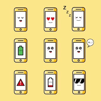 Set of cute phone illustration