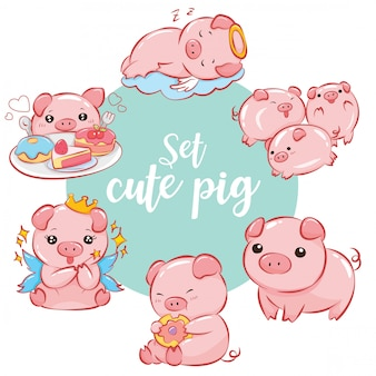 Set cute pig cartoon character