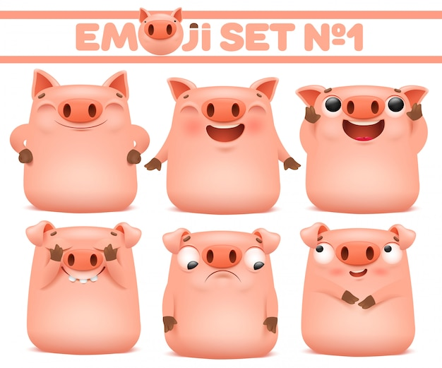 Set of cute pig cartoon emoji characters in various emotions. vector illustration