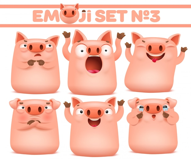 Set of cute pig cartoon emoji characters in various emotions. vector illustration