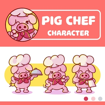 Set of cute pig chef character with optional apprearance. premium kawaii