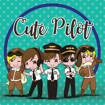 Set cute pilot vector. cartoon characters.