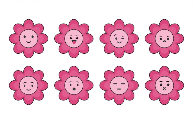 Set of cute pink flower icons.