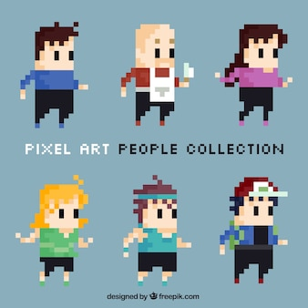 Set of cute pixelated characters