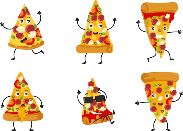 Set of cute pizza character with many pose