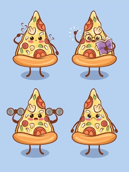 Set of cute pizza slices all expression. cartoon