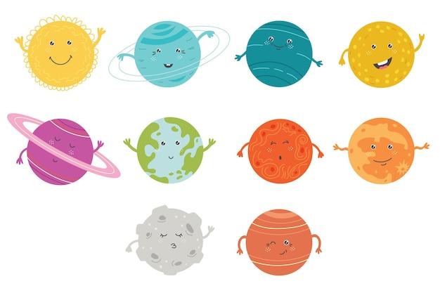 Set cute planet solar system