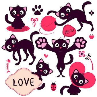 Set of cute playful cartoon kittens