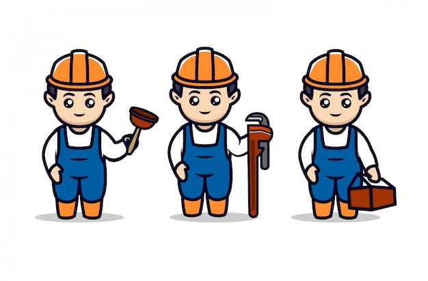 Set of cute plumber mascot design illustration