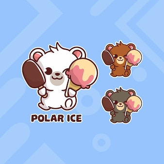 Set of cute polar bear ice cream logo with optional appearance.   kawaii