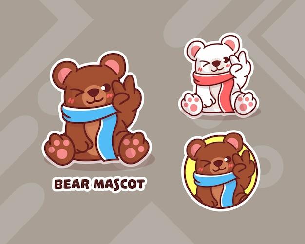 Set of cute polar bear logo with optional appearance.   kawaii