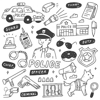 Set of cute police related objects