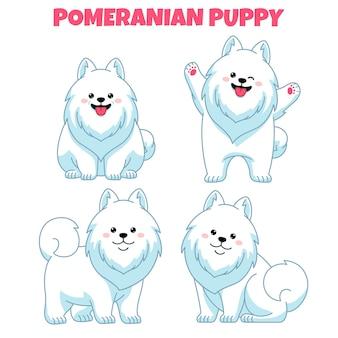 Set of cute pomeranian puppy dog