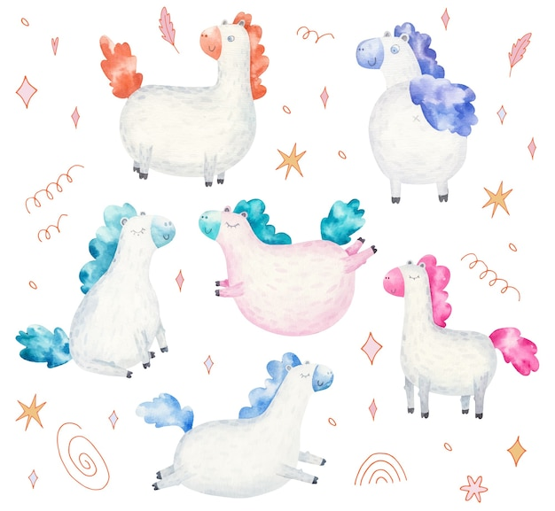 Set of cute ponies, children's watercolor illustration