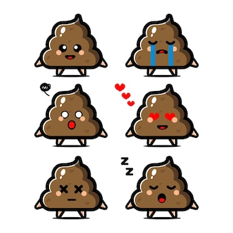 Set cute poop cartoon character with expression