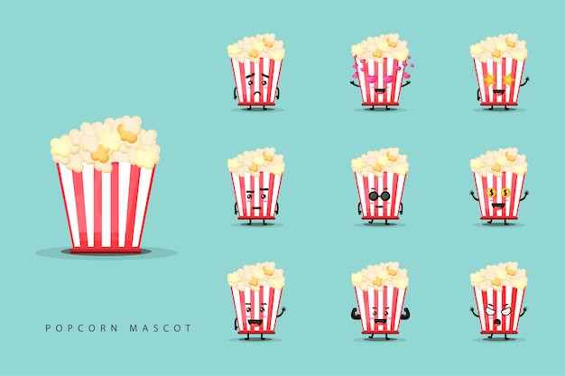 Set of cute popcorn mascots