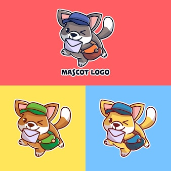 Set of cute post dog mascot logo with optional apprearance.