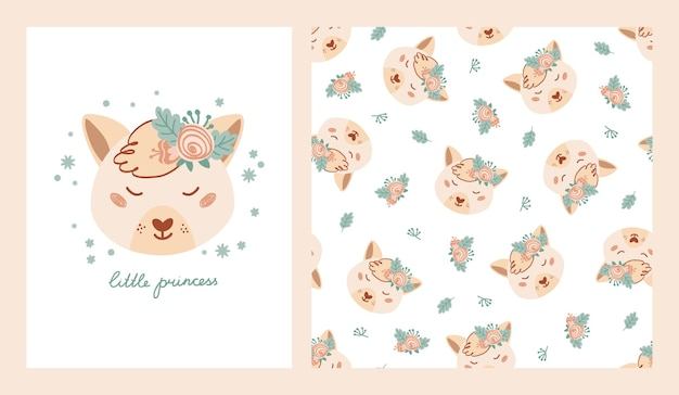 キツネ、花、リトルプリンセスのレタリングのポスターでかわいいポスターとシームレスなパターンを設定します。子供服、テキスタイル用のフラットスタイルの動物を使ったコレクションデザイン。ベクトルイラスト