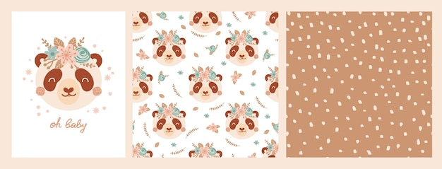 Set cute poster and seamless pattern with panda face and poster with lettering oh baby. collection with animal flowers of flat style for children's clothing, textiles, wallpapers. vector illustration
