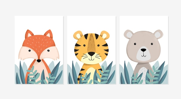 Set of cute posters with a fox, a tiger and bear designs illustration
