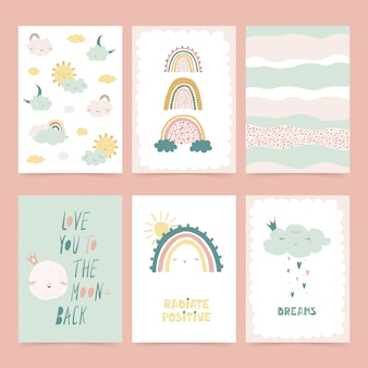 Set of cute posters with rainbow