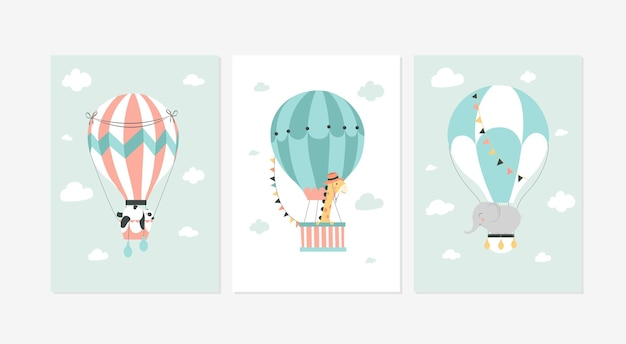 Set of cute posters with three different air ballons flying designs illustrations