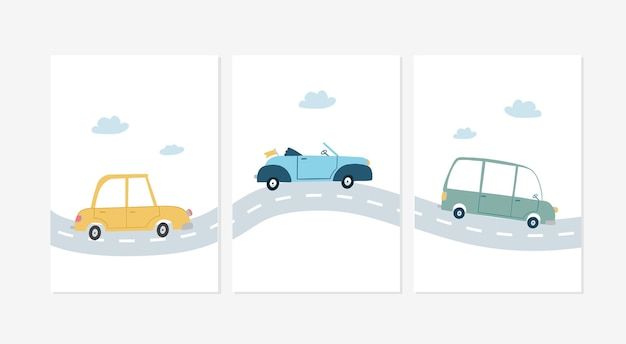 Set of cute posters with a yellow, a blue and a green car on the road designs illustrations