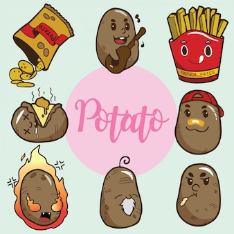 Set cute potato cartoon character.