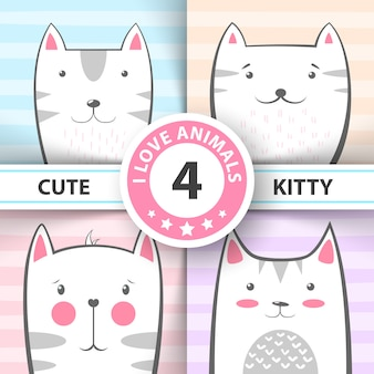 Set cute, pretty cat and kitty characters.