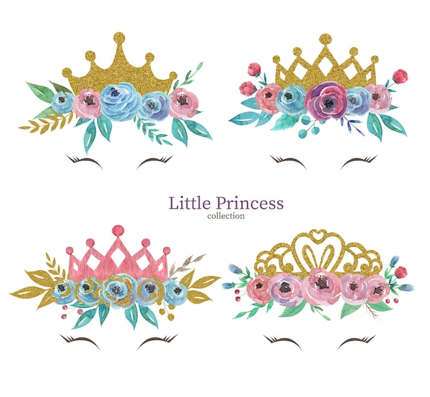 Set of cute princess crowns with watercolor flowers bouquets crown