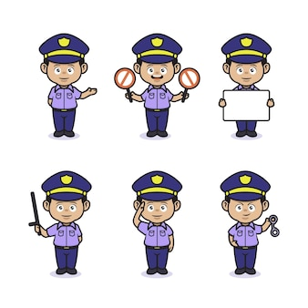 Set of cute professional police