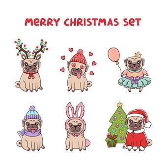 메리 크리스마스 의상을 입은 귀여운 퍼그 개 세트