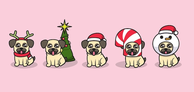 Set of cute pug dogs with christmas costumes
