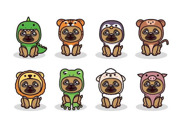 Set of cute pug with animal costume