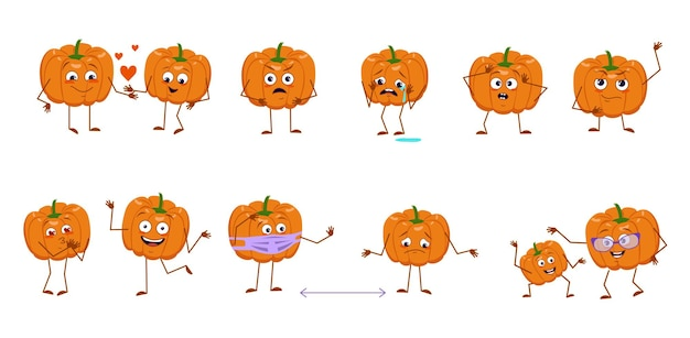 Set of cute pumpkin characters with emotions, faces, arms and legs. cheerful or sad heroes, orange autumn vegetables play, fall in love, keep their distance. vector flat halloween decorations.