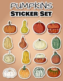 Set of cute pumpkin doodles sticker set.