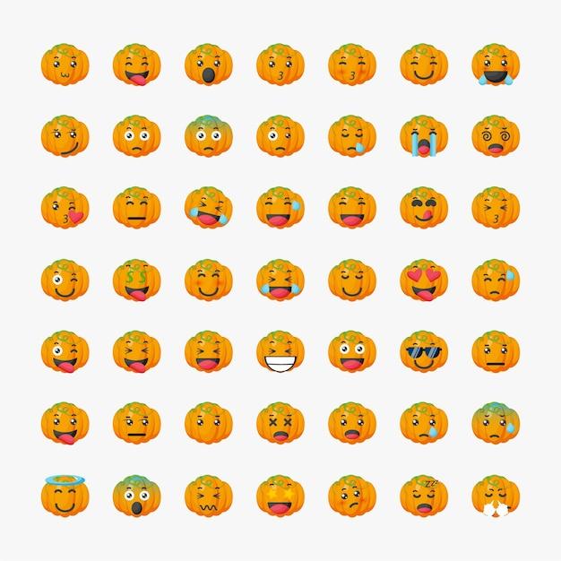 Set of cute pumpkin emoticon