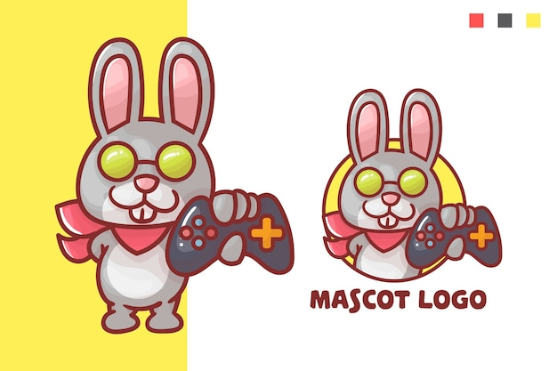 Set of cute rabbit game mascot logo with optional appearance.