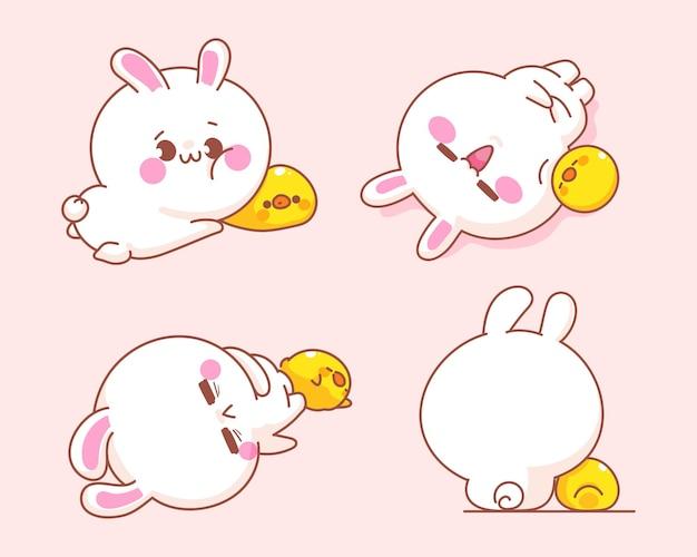 Set of cute rabbit with duck  cartoon illustration