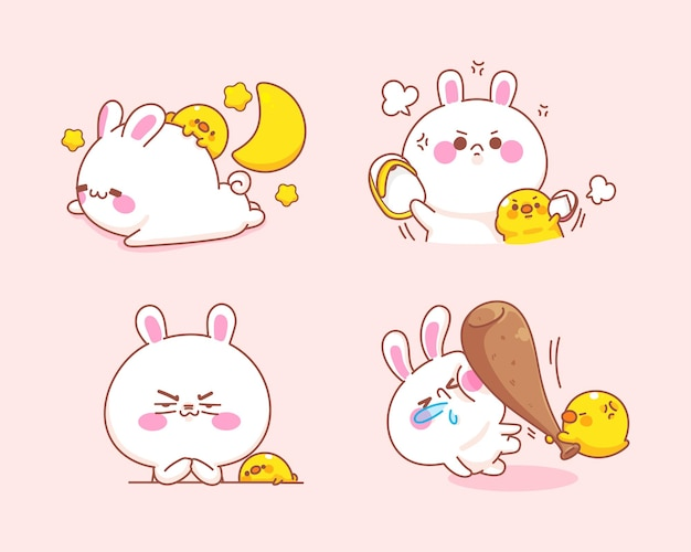 Set of cute rabbit with duck feel angry cartoon illustration