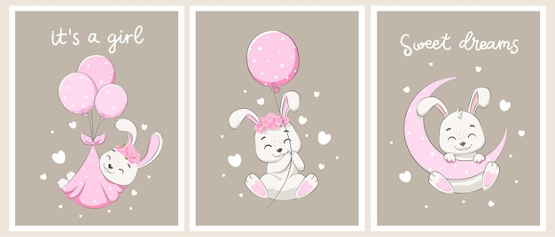A set of cute rabbits for a girl. sweet dreams,the moon, flowers and hot air balloon flights. vector illustration of a cartoon.