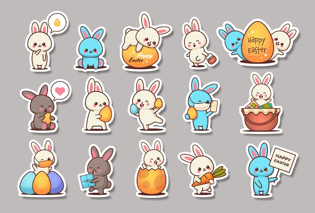 Set cute rabbits happy easter bunnies stickers collection spring holiday concept horizontal