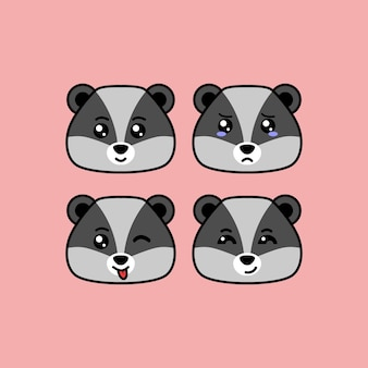 Set cute raccoon cartoon head character with different expression vector illustration