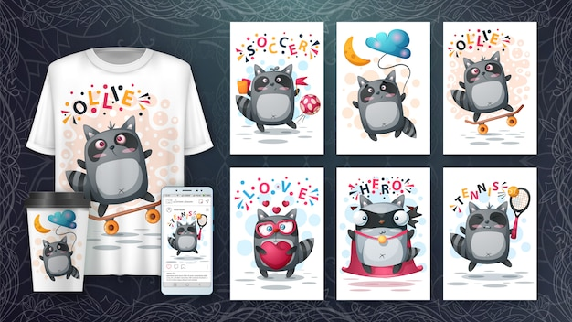 Set cute raccoon illustration and merchandising