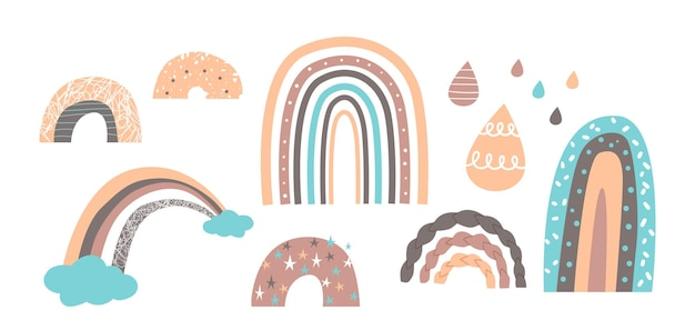 Set of cute rainbows in scandinavian style, funny baby prints, patterns or wallpaper. pastel colored rain drops, rain bows and clouds isolated on white background. cartoon vector illustration, icons