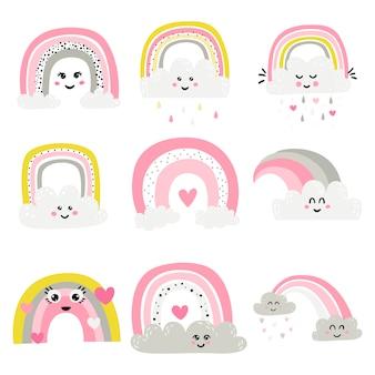 Set of cute rainbows