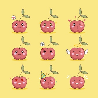 Set of cute red cherry character emojis illustration designs on yellow background