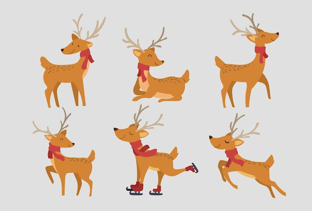 Set of cute reindeer character design. happy and funny cartoon with gift and decorative elements for christmas vector illustration.