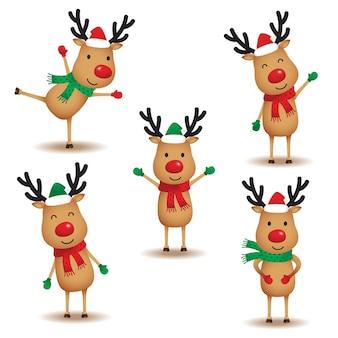Set of cute reindeer vector illustration