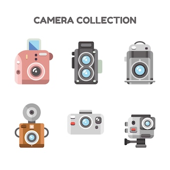 Set of cute retro cameras in flat design